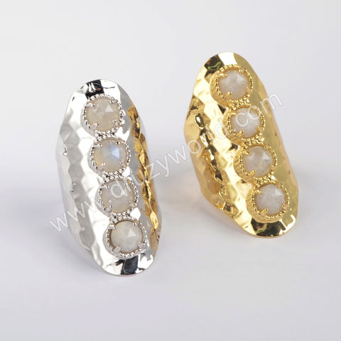 Gold Plated Natural Moonstone Bezel Band Ring ZG0428