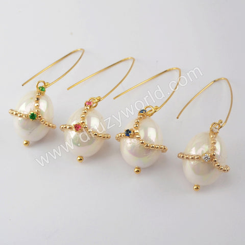 Natural Pearl with Multi CZ Charm Earrings Gold Plated WX1312-E