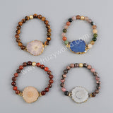 Gold Plated AB Color Titanium Solar Quartz Bracelet Tiger Eye Beads G1197
