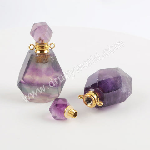 Genuine Colorful Fluorite Perfume Bottle Connector Gold PB001
