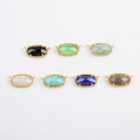 Gold Plated Bezel Hexagon Faceted Multi-kind Stone Connector ZG0373