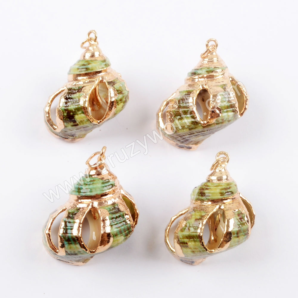 Green Natural Sea Shell Pendant In Gold Summer Jewelry Boho Style WX1027