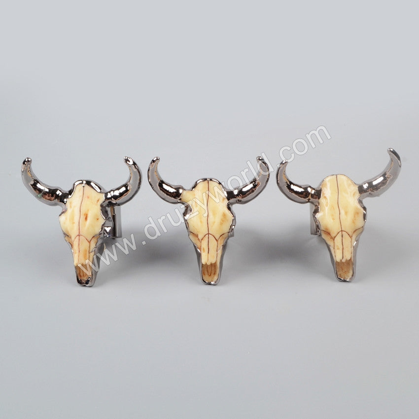 Gold/Silver/Gun Black Plated Longhorn Resin Cattle Horn Band Ring G1068