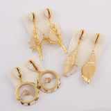 Gold Plated Cowrie Shell & Shell Earrings G1742