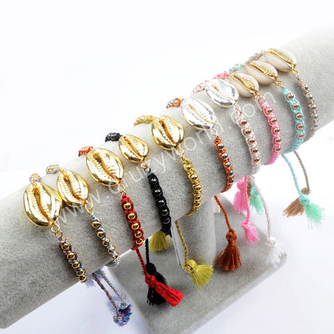 Narural Cowrie Shell Weave Rope Adjustable Bracelet Gift For Her Friendship Bracelet HD0011