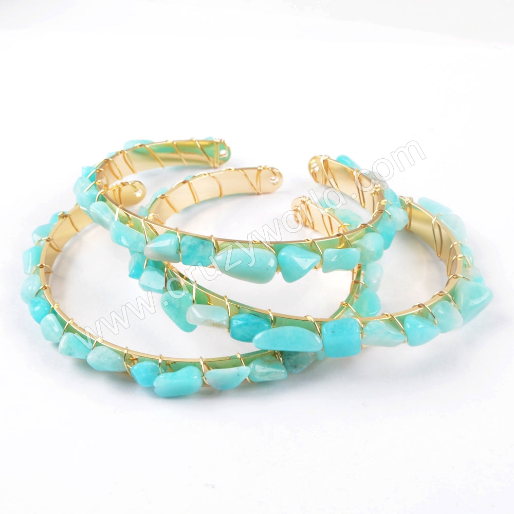 Amazon Stone Beads Wire Wrap Gold Bangle Beach Wedding Jewelry Gift WX1067
