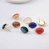 Natural Multi-kind Stones Oval Stud Earrings Stunning Earrings Gold Plated WX1390