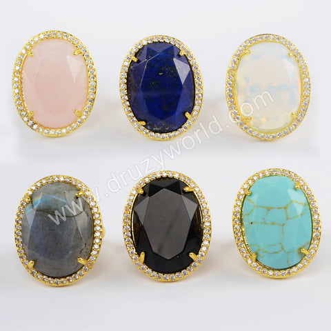 Natural Multi-kind Stones Ring Faceted Ring Women Gold Plated WX1333