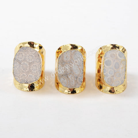 Gold Plated Natural Coral Fossil Open Band Ring G1270
