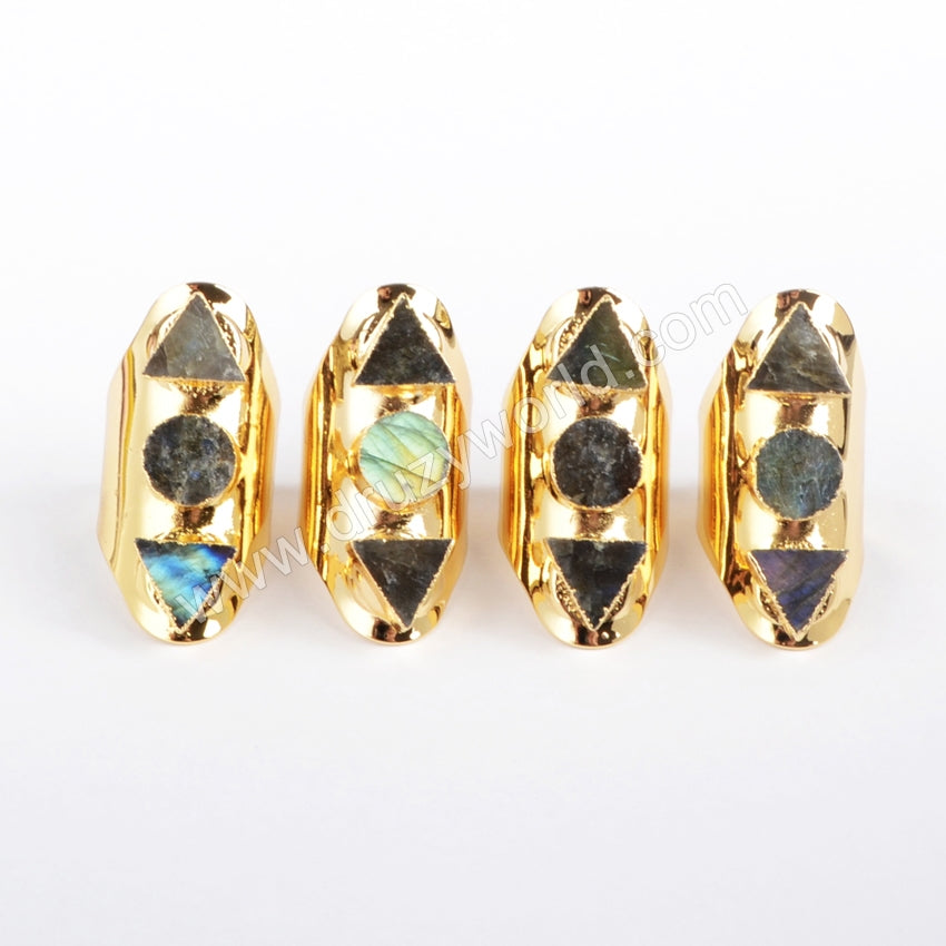 Gold Plated Three Triangle & Round Labradorite Ring G1198
