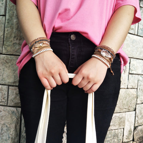 Boho Gold Plated Arrowhead White Quartz Beads Bracelet Vintage Leather Wrap Bracelet HD0076
