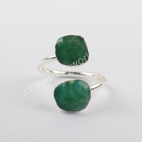 Australia Jade Adjustable Women Ring Fashion Jewelry Silver Plated S1920