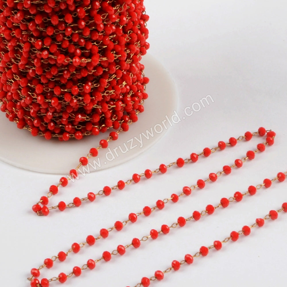 5m/lot,3mm Red Glass Beads Chains  JT167