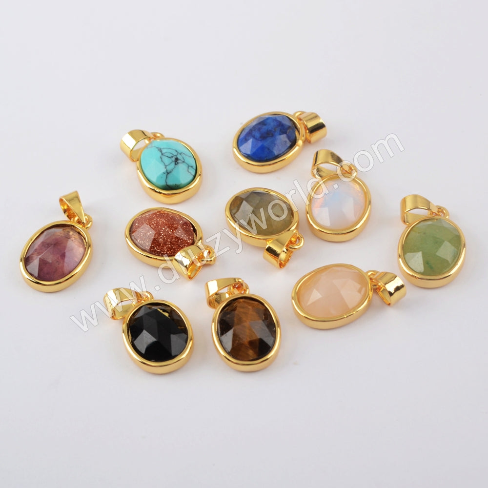 Natural Multi-kind Stones Pendant Charm For Jewelry Making Gold WX1296