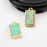 Rectangle Gold Plated Blue Opal Bezel Charm Pendant Bead ZG0268