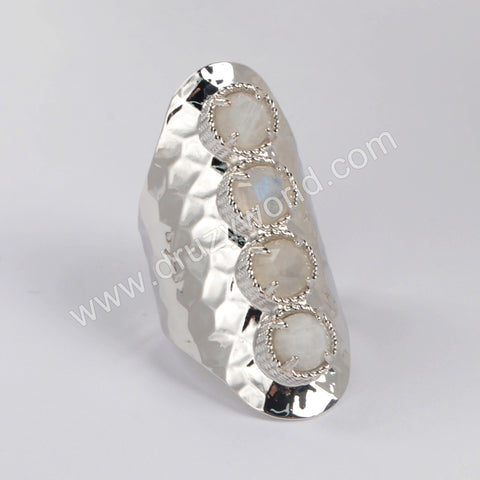 Natural Moonstone Bezel Band Ring Fashion Jewelry Silver Plated ZG0428
