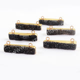 Rectangle Gold Plated Black Druzy Connector G1692