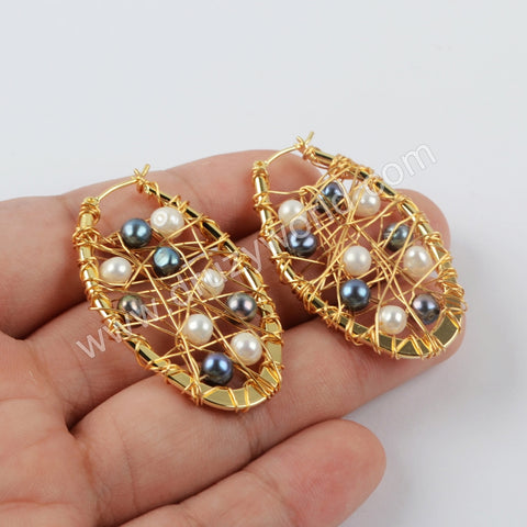 Natural Pearl Earrings Fashion Earrings Gold Plated WX1233