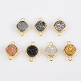 Gold Plated Bezel Round Rainbow Titanium Druzy Connector ZG0152