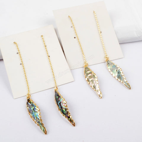 Gold Plated Leaf Abalone Shell Threader Earrings G1605