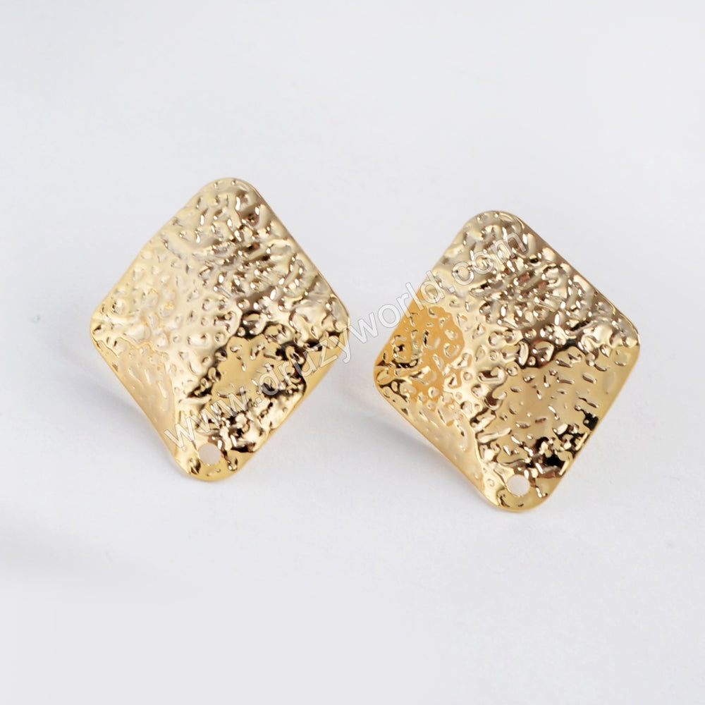 Diamond Shape Gold Plated Brass Earrings With Hole PJ093