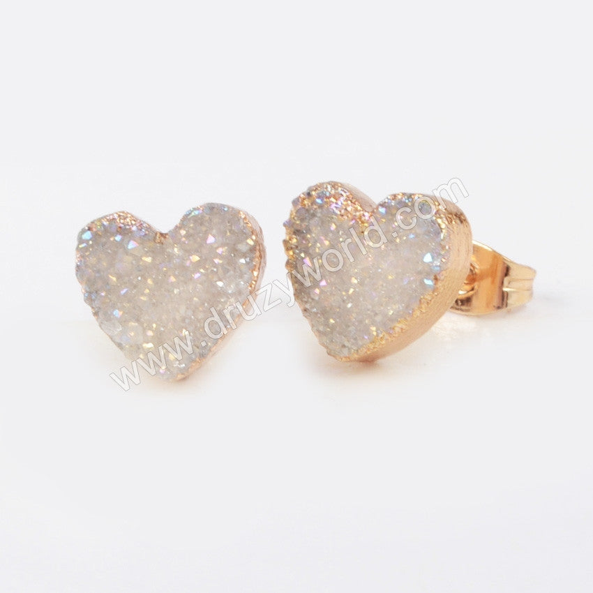 Gold Plated Heart Natural Agate Titanium Color Druzy Stud Earrings G0910