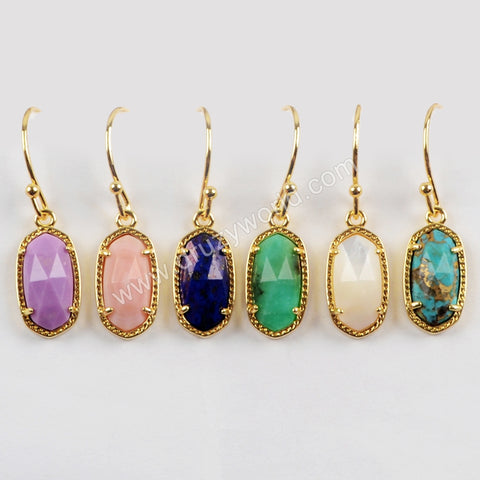 Claw Set Faceted Gemstone Gold Dangle Earrings ZG0323
