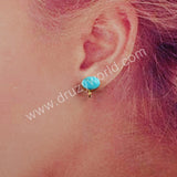 Round Gold Plated Natural Turquoise Charm Earrings G1849