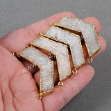 Gold Plated Natural Boomerang Titanium AB Druzy Connector Doulbe Bails G0734