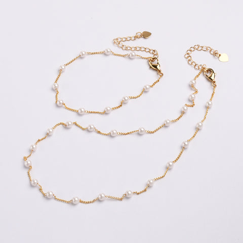 Imitation Pearl Chain Bracelet Necklace Jewelry Gift HD0378