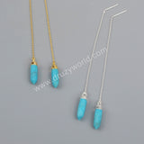 Natural Turquoise Point Faceted Threader Earrings Silver Plated S1343