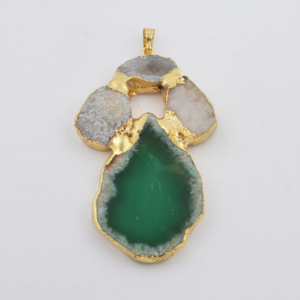 Natural Agate Slice Pendant Gold Druzy Jewelry WX1813