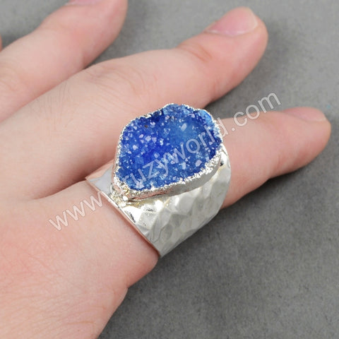 Rainbow Agate Druzy Band Ring Silver Plated S0341