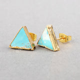 Gold Plated Triangle Natural Turquoise Stud Earrings G0472