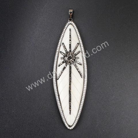 Big Marquise Black Plated Natural White Bone Carved Leaf Pendant Bead Paved Zircon WX076