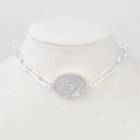 Natural Druzy Silver Chain Choker Necklace HD0350