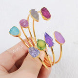 Gold Plated Double Arrow Rainbow Natural Agate Druzy Geode Adjustable Bangle Arrow Oval Shield Shape G0327