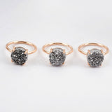 Size 6 Rose Gold Plated Claw Silver 10mm Round Titanium Druzy Ring ZG0235-1