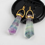 Natural Multi-Color Fluorite Faceted Piont Charm G0499