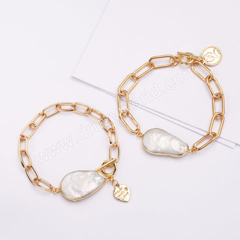 Gold Plated Natural Pearl Bracelet HD0356