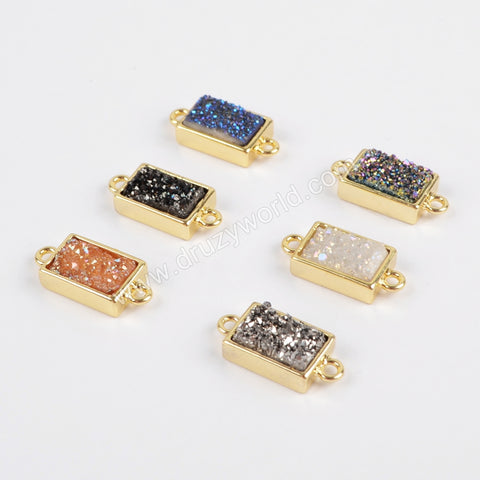 Gold Plated Bezel Rectangle Rainbow Titanium Druzy Connector ZG0154