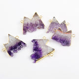 Gold Plated Natural Slice Amethyst Connector For Handmade Jewelry Making WX1068