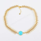 15mm Round Gold Plated Natural Turquoise Necklace ZG0172