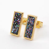 Bezel Rainbow White Titanium Druzy Stud Earrings Gold Plated ZG0280