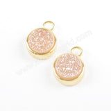 9mm Round Gold Plated Natural Agate Titanium Rainbow Druzy Charm Pendant ZG0357