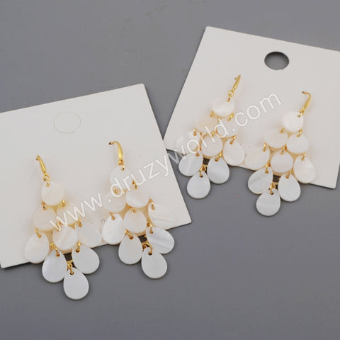 Gold Tear Drop White Shell Earring WX1082