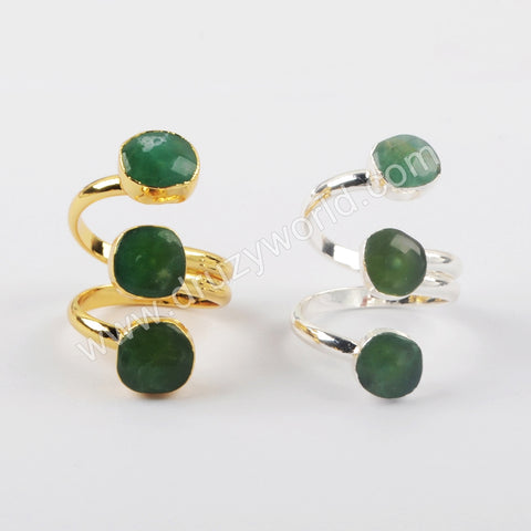Australia Jade Adjustable Ring Silver Rings Women Silver Plated S1921