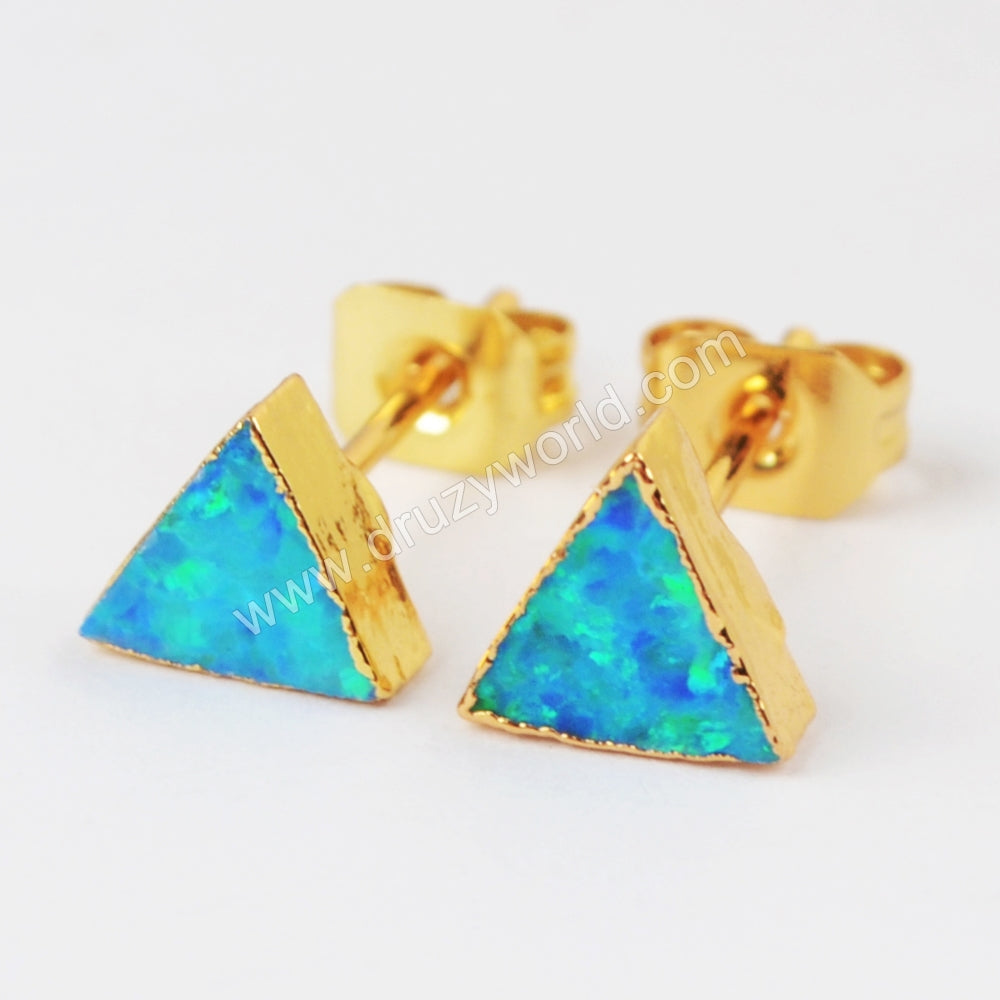 Gold Plated Triangle White Opal Studs G1424