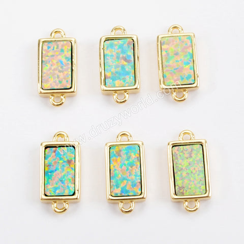 Rectangle Gold Plated Blue Opal Bezel Connector Double Bails ZG0269