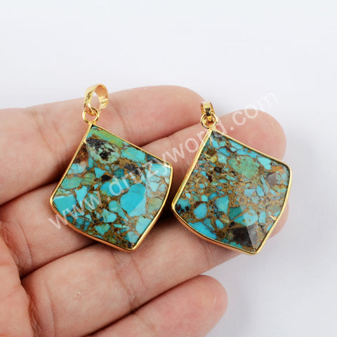 Turquoise Pendant Charm For Women Jewelry Making Gold Plated G1950